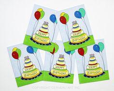 Birthday Card Set - Birthday Balloons - Set of 5 - Blank Cards with Envelopes - Kids Birthday Card - Kids Card - Birthday Cake Card - Bday