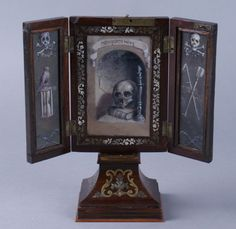 19th c. German Memento Mori triptych