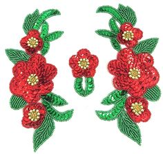 """Flower Red and Green Sequins and Beads 7"""" x 9"""""""