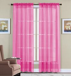 WPM 2 Piece Beautiful Sheer Window Elegance Curtains/drape/panels/treatment X (pink): Home & Kitchen Voile Panels, Sheer Curtain Panels, Window Panels, Pink Curtains, Valance Curtains, Cafe Curtains, Light Blocking Curtains, Lace Window, Living Room Drapes