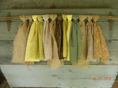 Rustic Shabby Fabric Valance/Curtain on Tobacco Stick/Wooden Rod Green, Brown, Yellow, Burlap Kitchen/Bathroom/Living Room/Any Rooms