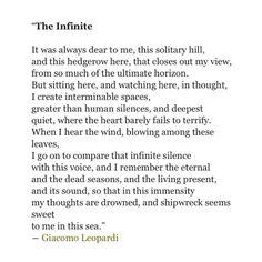 Giacomo Leopardi's translated L'infinito.
