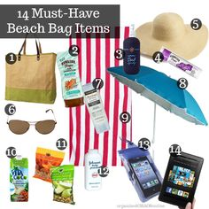 14 Things to Pack in Your Beach Bag. You'll look cute, the items are practical and you won't leave looking like a shriveled up lobster.