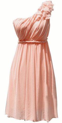 One-shouldered chiffon dress