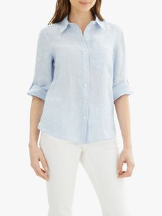 Jaeger Fine Stripe Linen Roll Sleeve Shirt at John Lewis & Partners