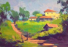 Carlos AVELINO Painting Inspiration, Art Inspo, Color Script, Guache, Naive Art, Gouache Painting, Environmental Art, Art Studies, Sketchbooks