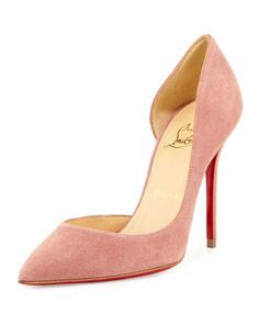 Iriza+Half-d\'Orsay+100mm+Red+Sole+Pump,+Pink+by+Christian+Louboutin+at+Neiman+Marcus.