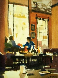 The American Collection - Leslie Frontz Watercolor Images, Abstract Watercolor, Watercolor Paintings, Watercolours, Painting People, Figure Painting, Art Restaurant, Human Art, Renaissance Art