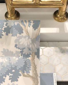 "Minnette Jackson Interiors on Instagram: ""Pretty powder room mix. #minnettejacksoninteriors #wallpaperwednesday #scheming . . . . #interiordesign #design #wallpaper #blue #leaf…"""