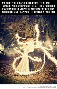 Ask your photographer to do this. It's a long exposure shot with sparklers. All they had to do was stand there very still and someone else ran around them with a sparkler. It's like a fairy tale.
