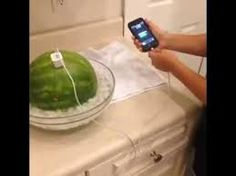 make a watermelon into a charger!  1. get a medium sized watermelon 2. put it in a bowl of ice water 3. add salt and stir 4. plug in your phone charger and phone