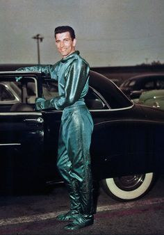 Michael Rennie, as Kattu.  Behind the scenes on the 1951 motion picture, THE DAY THE EARTH STOOD STILL (original vintage image color corrected) .