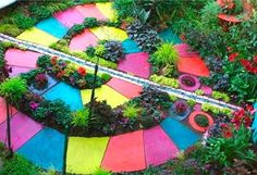This is a garden path of stone but it would make a great candyland party path or just if you wanted to make a life size Candyland game in your backyard:)