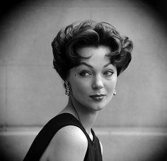 "Ivy Nicholson is sporting the new ""Italian Haircut"" created by Marcel, photo Yale Joel, July 1953"
