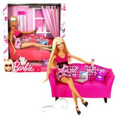 Mattel Year 2009 Barbie Fashionistas Series 12 Inch Doll Furniture Set - GLAM COUCH with Barbie Doll, Laptop, Cellphone, Drink Cup with Straw and Purple Bear Doll (T2328) by Mattel. $29.99. Doll measured approximately 12 inch tall. Produced in year 2009. For age 3 and up. Includes: GLAM COUCH with Barbie Doll, Laptop, Cellphone, Drink Cup with Straw and Purple Bear Doll (T2328). Mattel Year 2009 Barbie Fashionistas Series 12 Inch Doll Furniture Set - GLAM COUCH with Barbie...