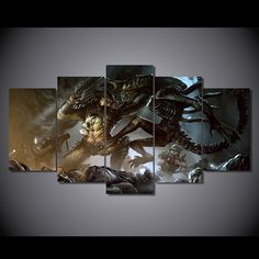 Style Your Home Today With This Amazing 5 Panel Alien vs Predator Alien Framed Wall Canvas Art For $99.00  Discover more canvas selection here http://www.octotreasures.com  If you want to create a customized canvas by printing your own pictures or photos, please contact us.