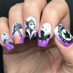 Maleficent Halloween Nails - Touch Me Not Cute Halloween Nails, Halloween Acrylic Nails, Halloween Nail Designs, Pretty Halloween, Nail Art Designs, Nail Designs Spring, Acrylic Nail Designs, Disney Nail Designs, Nail Art Disney