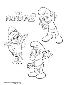 Come have fun with this amazing coloring sheet from movie The Smurfs 2. Here are the characters Smurfette, Clumsy and Papa. Just print!