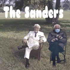 Colonel Sanders, Bernie Sanders, Weekend With Bernie, Bernie Man, Bernie Memes, Ian Ziering, Funny Adult Memes, Hanging Out, Album Covers