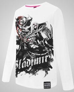 League of Legends Vladimir camiseta homens brancos de algodão de manga longa em torno do pescoço T-