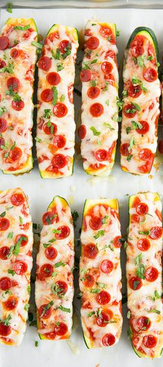 Zucchini Pizza Boats - these are so delicious!! Only take about 10 minutes prep! For Low Sodium Pizza Boats, use Trader Joe's Shredded Swiss Gruyere Cheese and Applegate uncured pepperoni. Use the pepperoni sparingly.