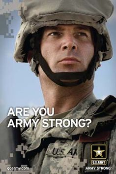 """One of the famous slogans of the U.S Army which is """"are you army strong? This is very popular poster shown in recruiting stations. Which challenges potential recruits if they are up for the challenge of becoming a soldier. Army Mom, Us Army, Continental Army, Military Life, Military Tags, Support Our Troops, United States Army, National Guard, American Pride"""