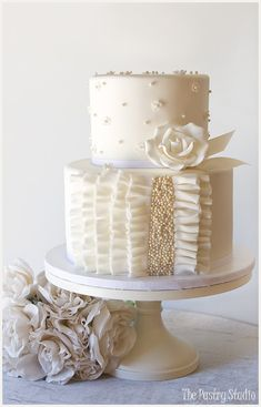 A Petite all White Wedding Cake with Ruffle and Pearls by The Pastry Studio: Daytona Beach, Fl