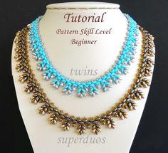 Beading pattern beadweaving tutorial superduo or twin seed bead jewelry beaded necklace beadwork instructions - beadwoven PUNTILLA by PeyoteBeadArt on Etsy https://www.etsy.com/listing/243735877/beading-pattern-beadweaving-tutorial