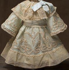 JUMEAU ANTIQUE DRESSES | Antique French Original Tulle Lace Dress for Jumeau Bru