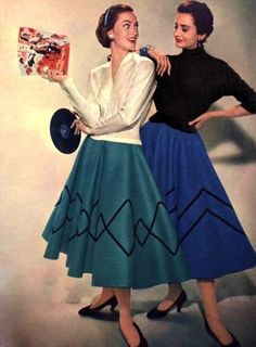 1955  I once made a skirt like this to wear to a 50's dance, except it had a telephone on it.