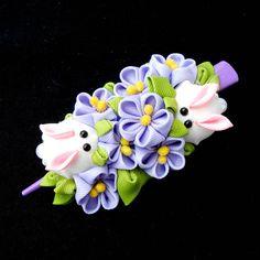 Easter Bunny Rabbit flower hair clip for women Easter gift