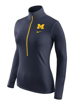 Nike Michigan Womens Hyperwarm Navy Blue 1/4 Zip Performance Pullover