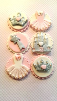 Princess Party in Pink! Set includes 12 Fondant Princess themed Pink Glittery Cupcake Toppers.