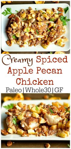 CREAMY SPICED APPLE PECAN CHICKEN This yummy fall dish combines spiced chicken with a creamy toasted apple pecan sauce that the whole family will love! Only 1 pan, and 20 minutes is all you need for this simple weeknight dinner! Pecan Chicken, Chicken Spices, Apple Chicken, Garlic Chicken, Paleo Recipes, Real Food Recipes, Cooking Recipes, Dishes Recipes, Hamburger Recipes