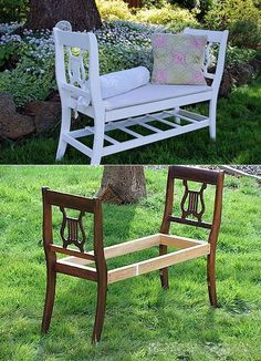 fun way to reuse some old chairs. Funky Furniture, Pallet Furniture, Furniture Decor, Old Chairs, Outdoor Chairs, Picnic Table Bench, Cafe Interior Design, Diy Sofa, Handmade Home