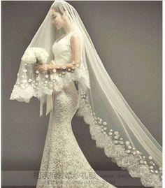 Sheath Wedding Dress : $89  Small bridal veil veil long veil bridal accessories -in Bridal Veils from A