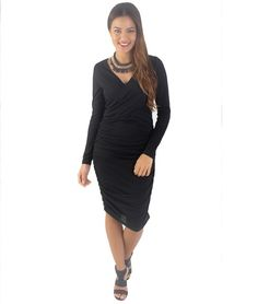 Genevieve Cross Over Long Sleeve Dress – Black | redthread7.com.au