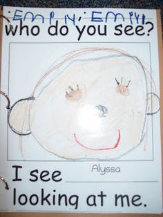 class book based on brown bear brown bear but using kids names and the picture they draw of themselves   Chalk Talk: A Kindergarten Blog: Back to School Ideas