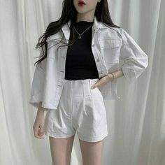 spring outfit korean fashion white matching set denim shorts and jacket Source by ivonaslifestyle clothes fashion dresses Kpop Fashion Outfits, Edgy Outfits, Cute Casual Outfits, Korean Outfits, Pretty Outfits, Korean Fashion Kpop Inspired Outfits, Korean Clothes, Fashion Dresses, Korean Girl Fashion