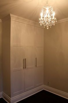 Making built-in using Ikea wardrobe & crown molding...genius
