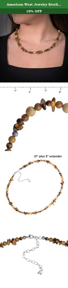 """American West Jewelry Sterling Silver Shades of Brown Beaded Necklace, 21"""". Complement your wardrobe with the colors of this necklace. Gemstones of Tiger eye, feldspar and sunset jasper beads are accented with ribbed sterling silver beads. Carolyn used gemstones from her own collection to create this beautiful necklace, just for her passionate collectors!."""