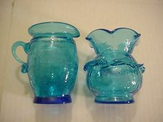 2 Vintage Blue Crackle Glass 1 Vase 1 Creamer about 4 inches tall, hand tooled
