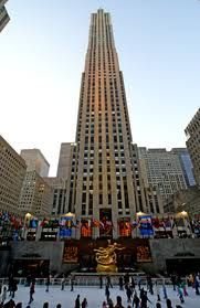 Rockefeller Center.  I've been here numerous times, summer and winter.  In the summer I've sat at a table on what is the ice skating rink in the winter.