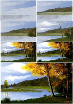 Step By Step Forest Acrylic Painting By Artist Mahith Digital Painting Tutorials, Acrylic Painting Tutorials, Acrylic Painting Canvas, Acrylic Painting Lessons, Painting Techniques, Art Tutorials, Canvas Art, Art Aquarelle, Watercolor Art