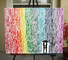 Lesbian Wedding Gift, Melted Crayon Art, Rainbow Painting, Lesbian Pride Umbrella Painting, Rainbow Decor, Couple Silhouette Lesbians 22x28 by FemByDesign on Etsy https://www.etsy.com/listing/242320040/lesbian-wedding-gift-melted-crayon-art