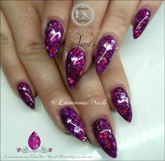 Sculptured Acrylic with GlitterGasm Holographic Fuchsia, Chunky/Fine Fuchsia, Young Nails Raspberry Icy.