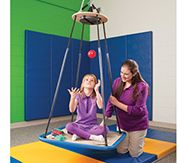 Every therapist knows there are three swings that are the basis of every vestibular program: the platform swing, bolster swing and net swing. The carpeted platform swing can be used in a wide range of tilting movements and is suitable for clients in Vestibular Activities, Vestibular System, Occupational Therapy, Physical Therapy, Sensory Swing, Sensory Garden, Sensory Play, Sensory Integration Therapy, Platform Swing