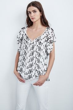 THELMA RAYON EYELET TOP, Velvet by Graham and Spencer.