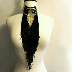 LOWEST Fringe Statement Necklace NWT. Adjustable clasp closure. Made in the UK. Jewelry Necklaces