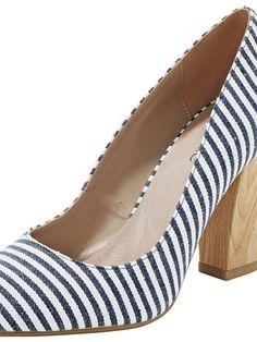 eac964db9bc6 Dámské Boty Na Vysokém Podpatku HEINE  Boty  Vysokém Podpatku  high heels   wood heels  stripe shoes